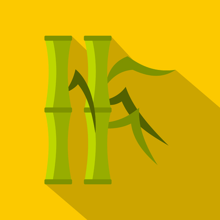 Green bamboo stems icon. Flat illustration of green bamboo stems vector icon for web on yellow background