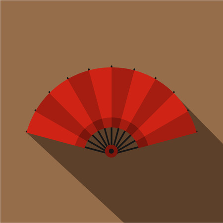 red  open: Red open hand fan icon. Flat illustration of red open hand fan vector icon for web on coffee background