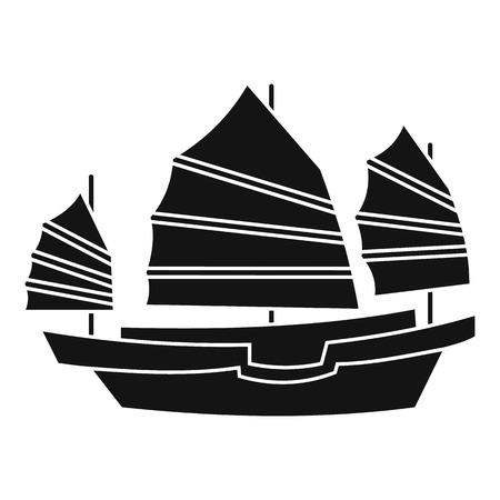 junk boat: Junk boat icon. Simple illustration of junk boat vector icon for web