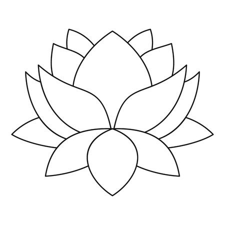 Lotus flower icon. Outline illustration of lotus flower vector icon for web