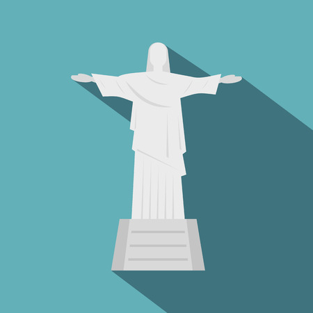redeemer: Christ the Redeemer statue icon, flat style Illustration
