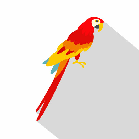 aviary: Scarlet macaws icon. Flat illustration of scarlet macaws vector icon for web on white background