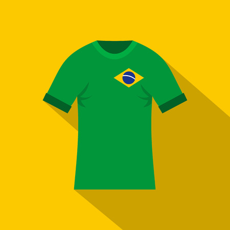 Brazilian yellow and green soccer shirt icon. Flat illustration of brazilian yellow and green soccer shirt vector icon for web on yellow background Illustration