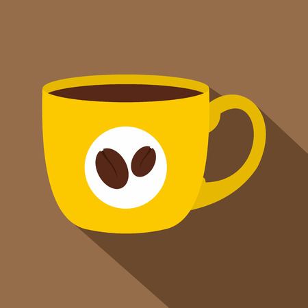 handful: Yellow cup of coffee icon. Flat illustration of yellow cup of coffee vector icon for web on coffee background Illustration