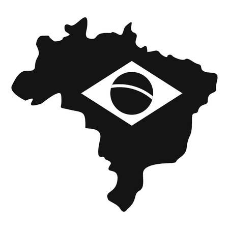 brasilia: Brazil map with flag icon. Simple illustration of Brazil map with flag vector icon for web