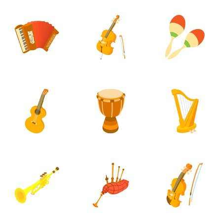 bagpipes: Musical tools icons set. Cartoon illustration of 9 musical tools vector icons for web Vectores