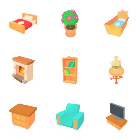 Home furnishings icons set. Cartoon illustration of 9 home furnishings vector icons for web