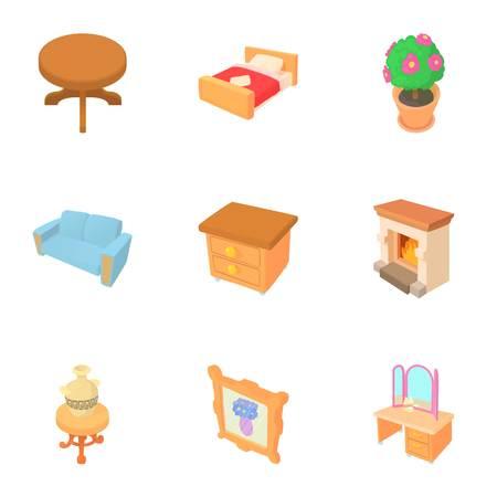 Type of furniture icons set. Cartoon illustration of 9 type of furniture vector icons for web