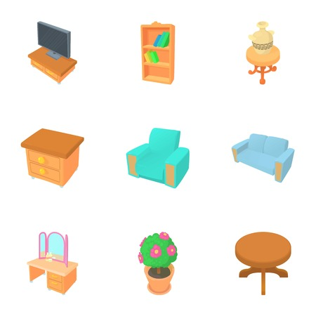 Home furniture icons set. Cartoon illustration of 9 home furniture vector icons for web