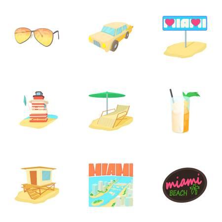 longue: City Miami icons set. Cartoon illustration of 9 city Miami vector icons for web