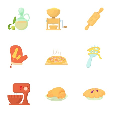the miller: Cakes icons set. Cartoon illustration of 9 cakes vector icons for web Illustration