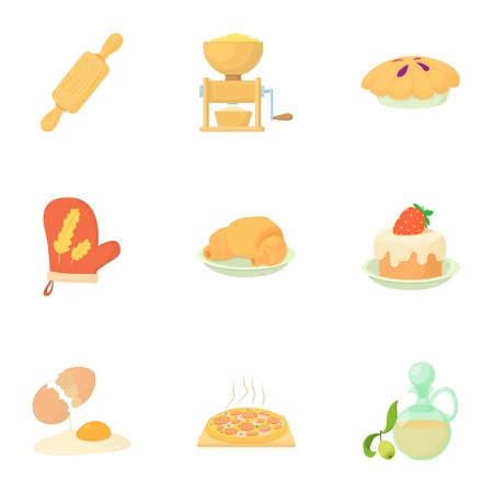 the miller: Sweet pastries icons set. Cartoon illustration of 9 sweet pastries vector icons for web Illustration