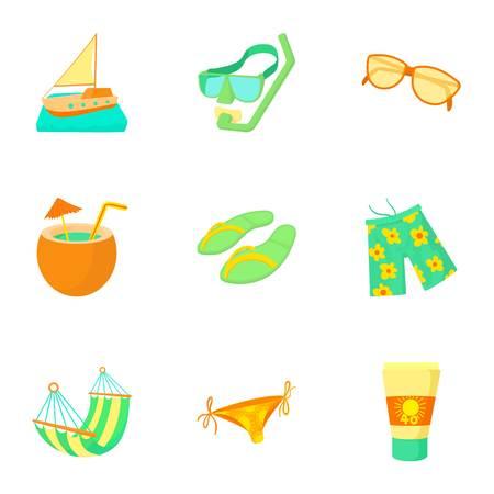 Travel to sea icons set, cartoon style