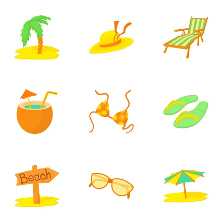brolly: Journey to sea icons set, cartoon style