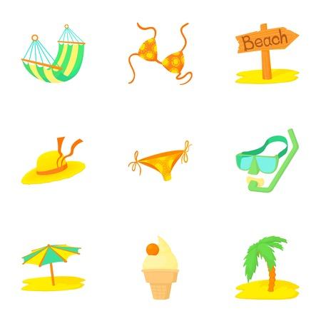 brolly: Trip to sea icons set, cartoon style
