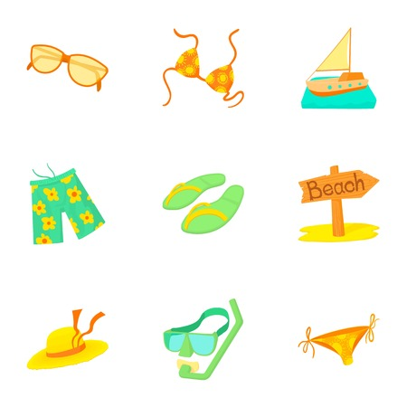 brolly: Rest on sea icons set. Cartoon illustration of 9 rest on sea vector icons for web