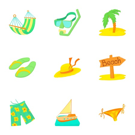 brolly: Tourism at sea icons set. Cartoon illustration of 9 tourism at sea vector icons for web