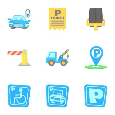 Parking transport icons set. Cartoon illustration of 9 parking transport vector icons for web