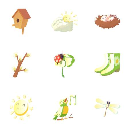 Spring icons set. Cartoon illustration of 9 spring vector icons for web