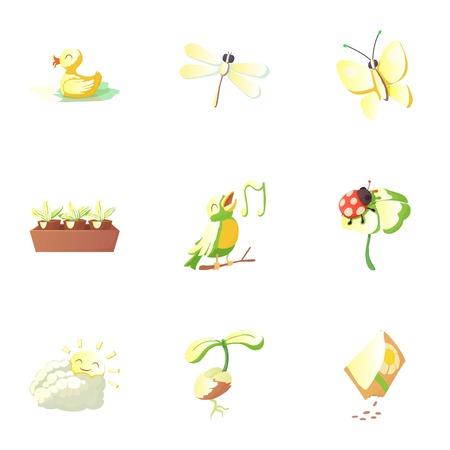 season: Season spring icons set, cartoon style Illustration