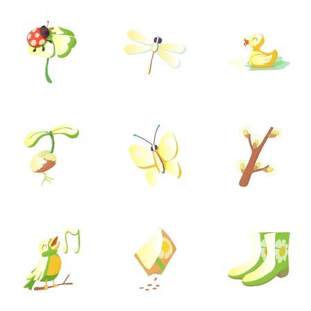 rubber ducks: Season of year spring icons set, cartoon style