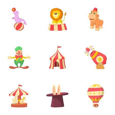 Circus performance icons set, cartoon style