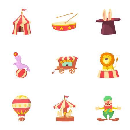 Circus chapiteau icons set, cartoon style Illustration