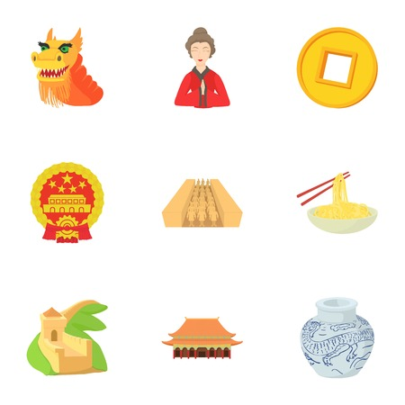 Stay in China icons set, cartoon style