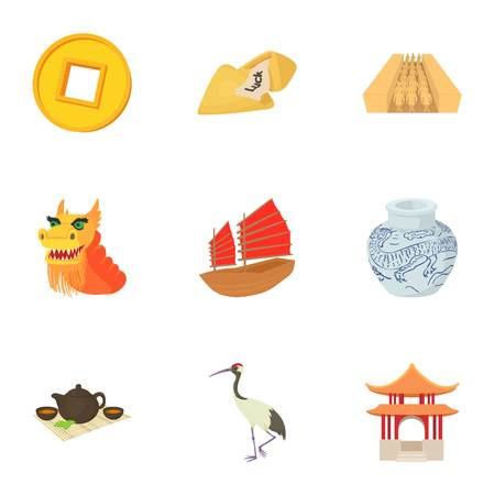 Tourism in China icons set, cartoon style