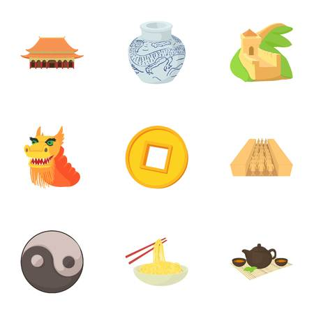 Country of China icons set, cartoon style Illustration