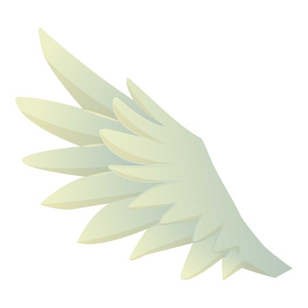 Feather wing icon, cartoon style