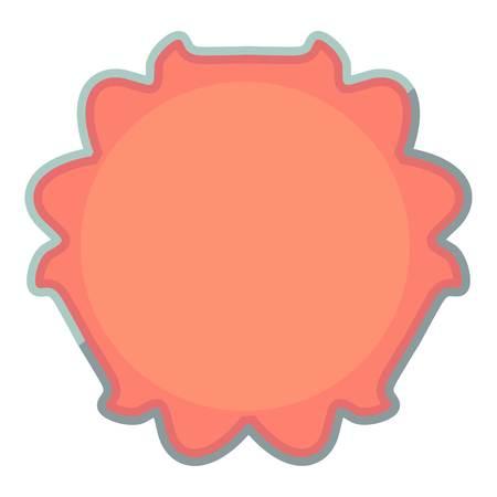 Round tag icon, cartoon style