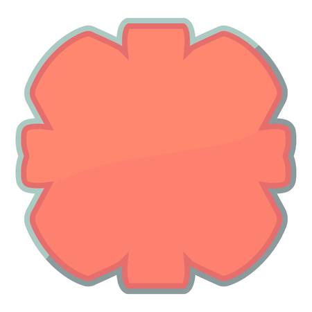 Shaped tag icon, cartoon style