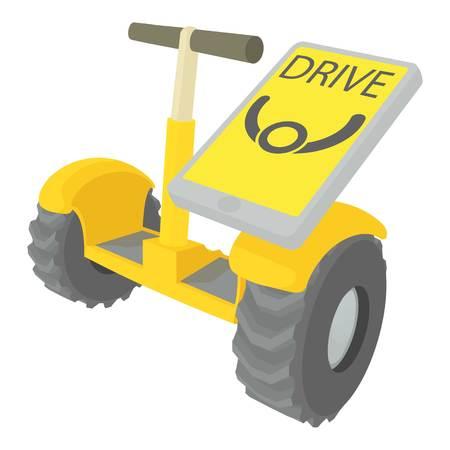 Drive on segway icon, cartoon style Illustration