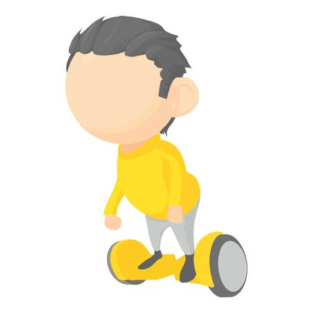 Boy on segway icon, cartoon style Illustration