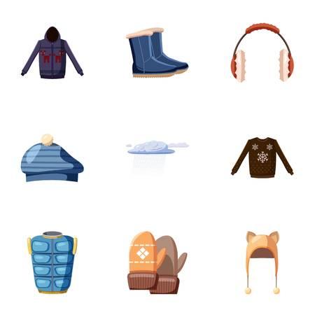 clothe: Winter clothes icons set, cartoon style