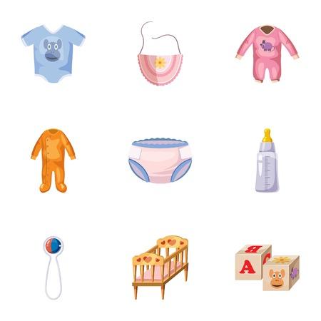 Les choses pour les icônes de set de bébé, le style de bande dessinée