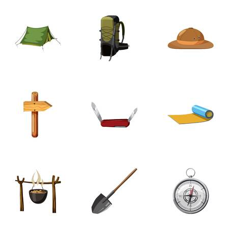 Vacation in forest icons set, cartoon style Illustration