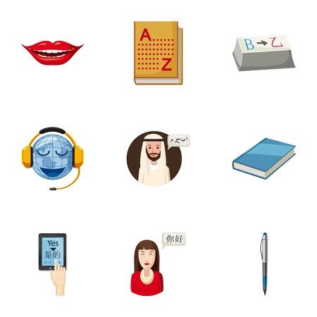 interpreter: Translation icons set, cartoon style Illustration