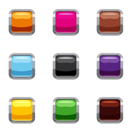 square button: Control equipment button icons set, cartoon style Illustration