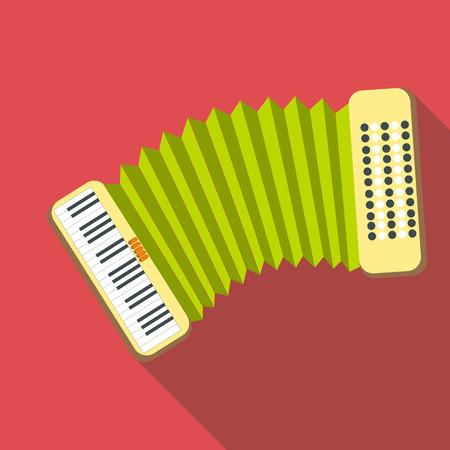 acordeón: icono de acordeón, estilo plano Vectores