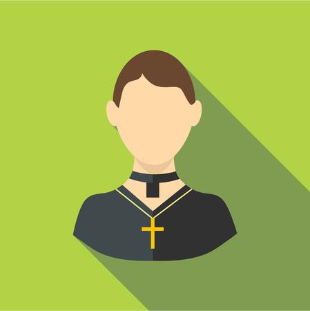 pastor: Priest icon, flat style