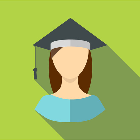 Graduate woman icon, flat style Illustration