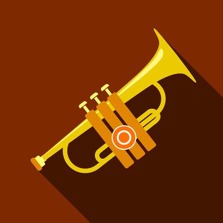 clarinete: Icono de trompeta, estilo plano
