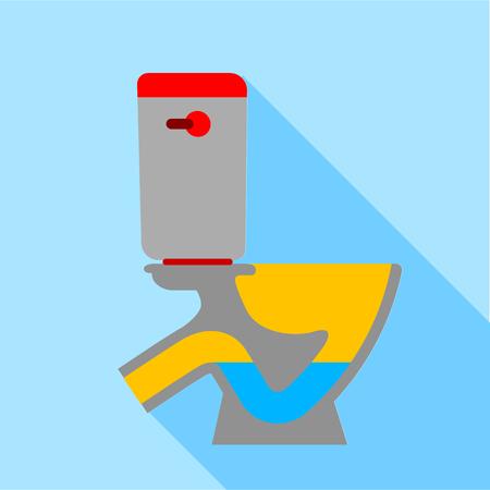 Toilet bowl icon, flat style Illustration