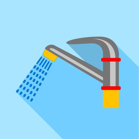 long drink: Water faucet icon, flat style