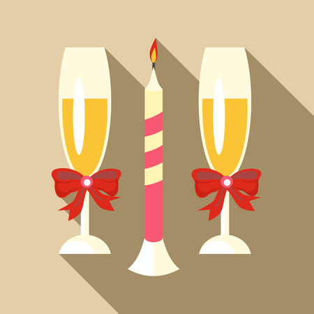 Two champagne glasses icon, flat style