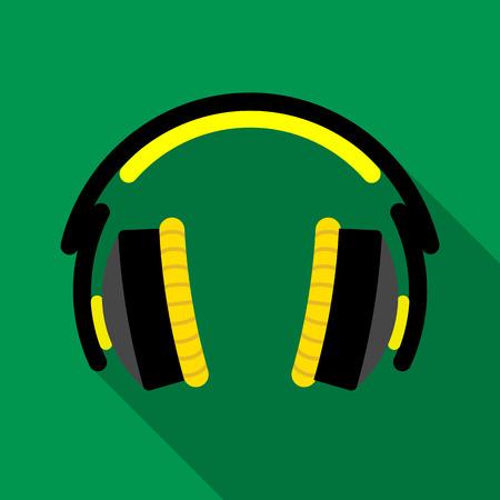 portable audio: Headphones icon, flat style