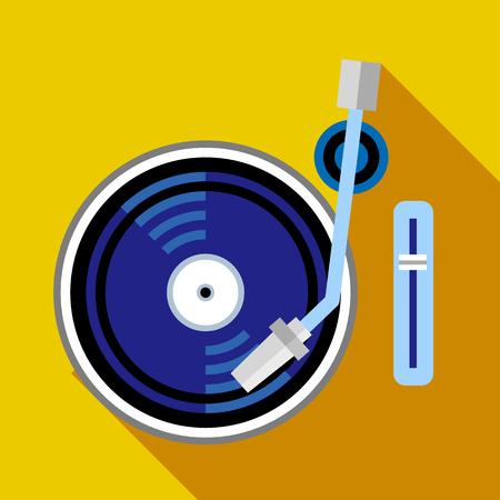 Record player phonograph icon, flat style
