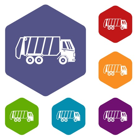garbage truck: Garbage truck icons set